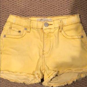 Yellow jean shorts